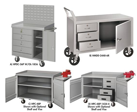 MOBILE CABINET WORKBENCHES - WITH SHELF OR VISE